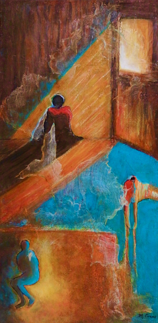 This mixed media acrylic painting shows three figures isolating but one looking longingly at the light from the open window, representing Hope.